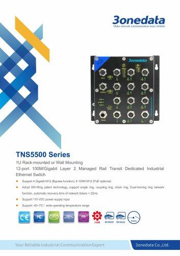 3onedata | TNS5500 | EN50155 | Layer 2 | 8+4G-port Industrial PoE Switch | rail transit