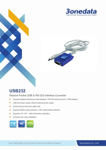 3onedata | USB232 | 1-port USB to RS-232 Converter