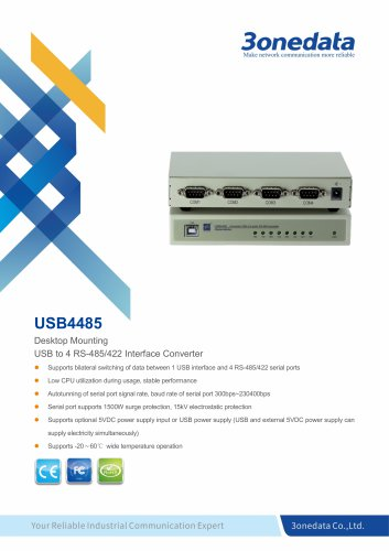 3onedata | USB4485 | USB to 4-port RS-485/422 Converter