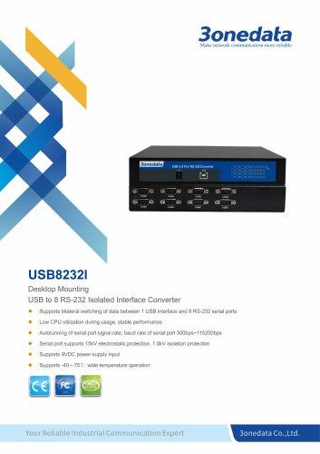3onedata | USB8232I | USB to 8-port RS-232 Converter