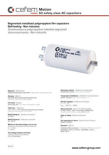 Segmented metallized polypropylene film capacitors Self-healing - Non inductive