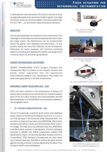 Piezo actuators for astronomical instrumentation