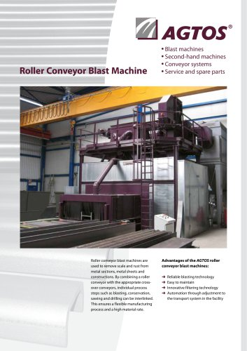 Roller conveyor blast machine