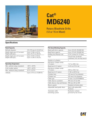 Cat® MD6240 Rotary Blasthole Drills (12 or 15 m Mast)