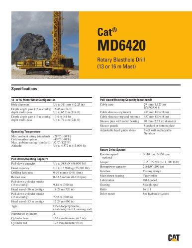 Cat® MD6420 Rotary Blasthole Drill (13 or 16 m Mast)