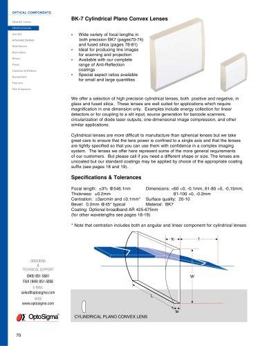 BK7 Cylindrical Plano Convex Lenses
