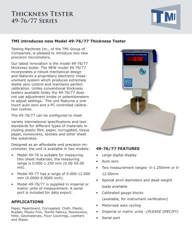 49-76/77 Digital Thickness Tester with Auto Zero
