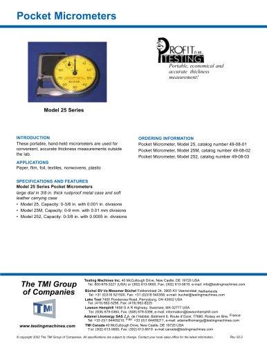 Pocket Micrometers - 25 Series