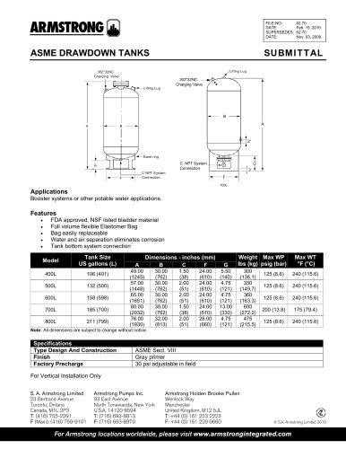 Boosters, ASME drawdown tanks - submittal
