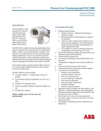 PGC1000 Field Mounted Process Gas Chromatograph