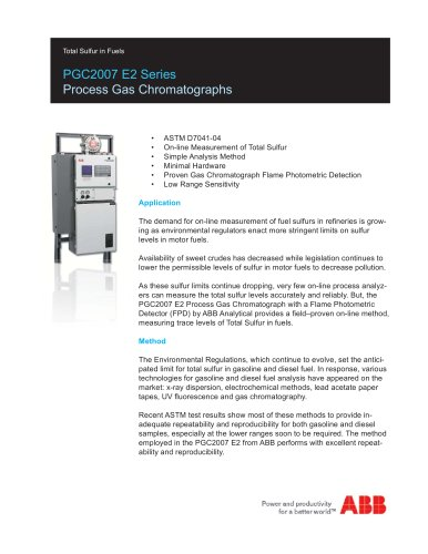 PGC2007 E2 Series (Process Gas Chromatograph) - Total Sulfur in Fuels