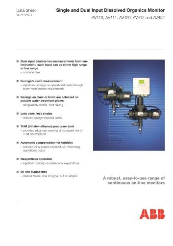 Single and Dual Input Dissolved Organics Monitor AV410, AV411, AV420, AV412 and AV422
