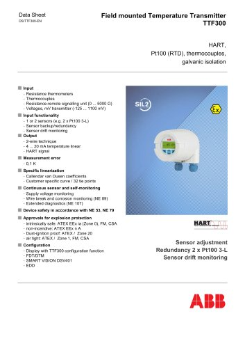 TTF300 - Field mounted Temperature Transmitter, HART, Pt 100 (RTD), thermocouples, electrical isolation