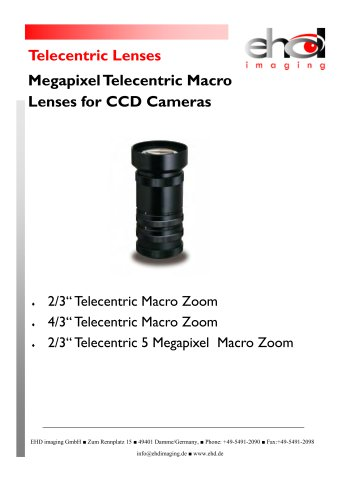 EHD Telecentric Megapixel Lenses