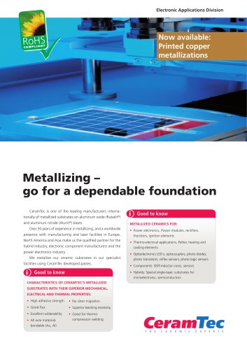 Metallizing ? go for a dependable foundation
