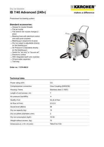 IB 7/40 Advanced (240V) Dry ice blaster