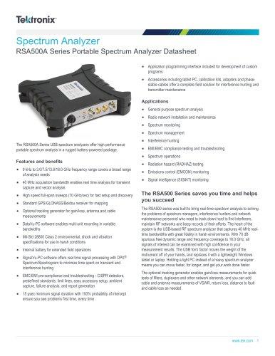 RSA500A Series Portable Spectrum Analyzer