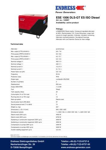 ESE 1006 DLS-GT ES ISO Diesel