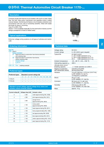 Thermal Automotive Circuit Breaker 1170