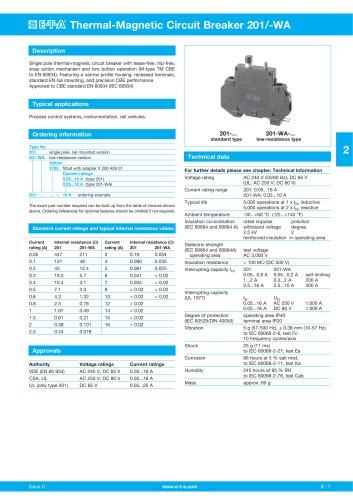 Thermal-Magnetic Circuit Breaker 201/-WA