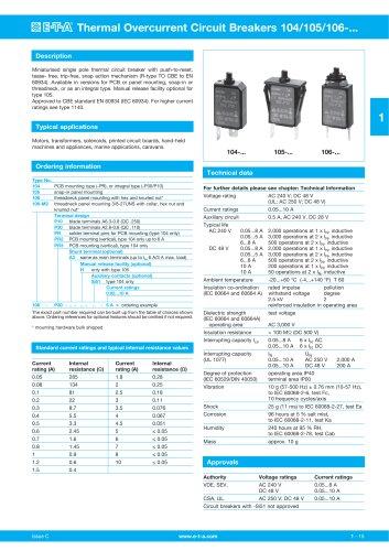 Thermal Overcurrent Circuit Breakers 104/105/106