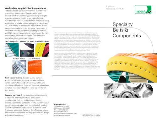Specialty Belts & Components