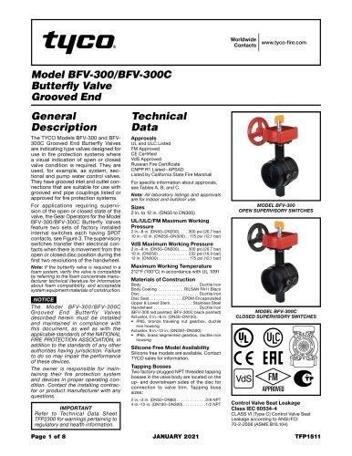 Model BFV-300/BFV-300C Butterfly Valve Grooved End