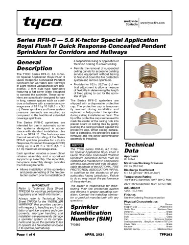 Series RFII-C — 5.6 K-factor Special Application Royal Flush II Quick Response Concealed Pendent Sprinklers for Corridors and Hallways