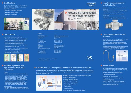 Process Instrumentation Nuclear Industry