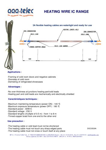 Heating wire for cold room doors and refrigerated showcases