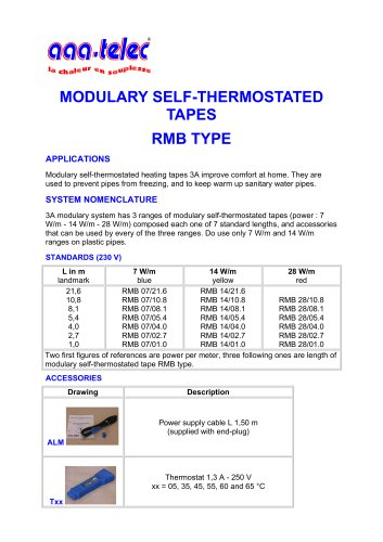 Modulary self-thermostated tapes RMB type