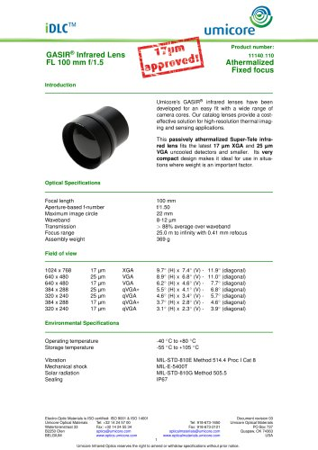 100 mm f/1.5 - Athermalized Infrared Lens