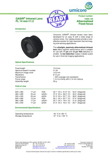 14 mm f/1.2 - Athermalized Infrared Lens
