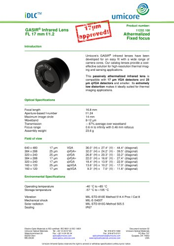 17 mm f/1.2 - Athermalized Infrared Lens