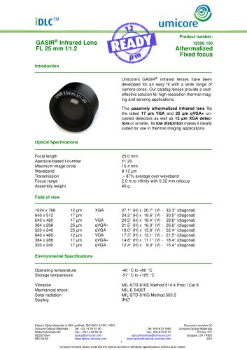 25 mm f/1.2 - Athermalized Infrared Lens