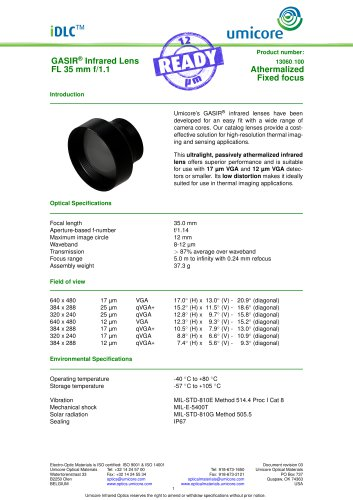 35 mm f/1.1 - Athermalized Infrared Lens