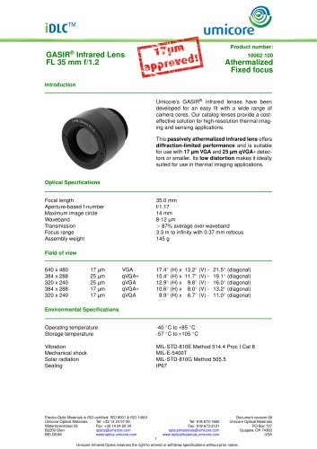 35 mm f/1.2 - Athermalized Infrared Lens