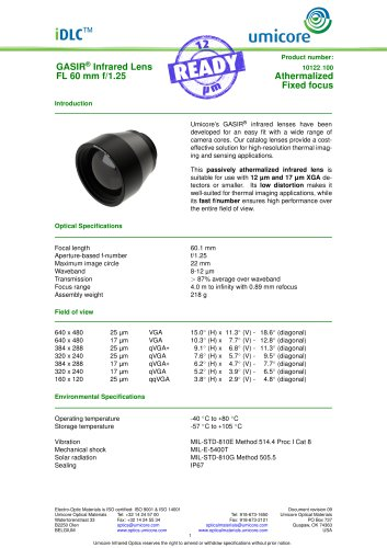 60 mm f/1.25 - Athermalized Infrared Lens