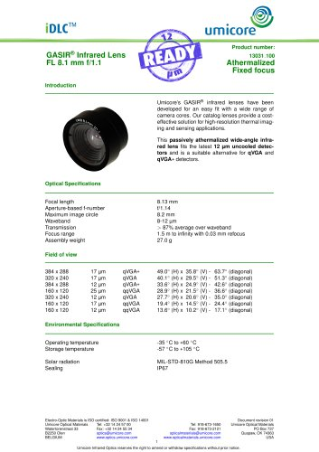 8.1 mm f/1.1 - Athermalized Infrared Lens