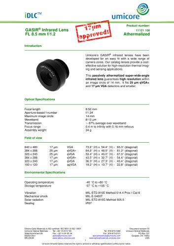 8.5 mm f/1.2 - Athermalized Infrared Lens