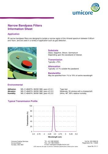 Filters: narrow bandpass