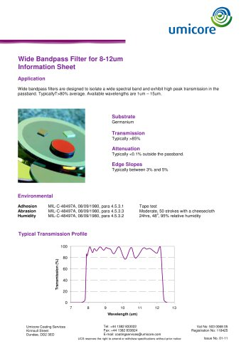 Filters: wide bandpass