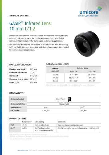 GASIR® Infrared Lens 10 mm f/1.2
