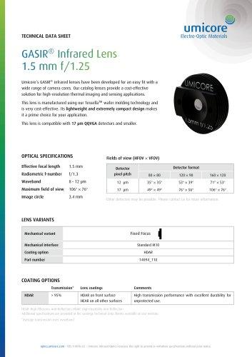 GASIR® Infrared Lens 1.5 mm f/1.25