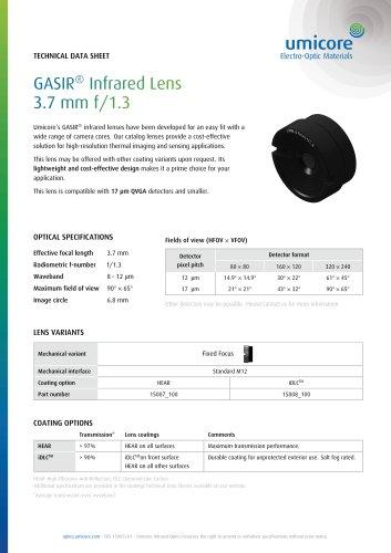 GASIR® Infrared Lens 3.7 mm f/1.3