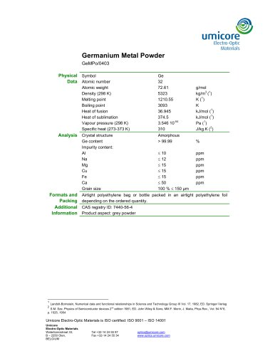 Germanium Metal Powder