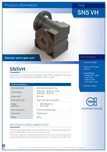 Worm gear SN5VH - product information