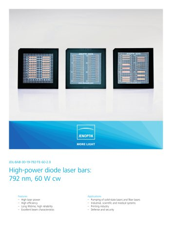 High-power diode laser bars: 792 nm, 60 W cw