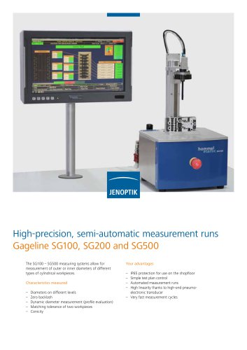 SG100-SG500 pneumatic measuring systems for inner and outer diameters