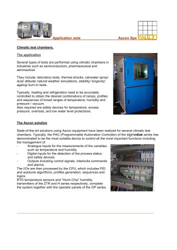 Climatic test chambers.